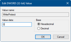 Figure 4: Illustrates Edit DWORD box to change value data