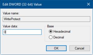 Figure 4: Illustrates Edit DWORD box to change value data