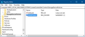Illustrates the Registry Editor window